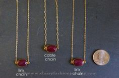 Ruby Chain Necklace Designs, Gold Chain with Ruby Pendants, Ruby Gemstone Chain Necklace Designs.