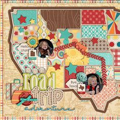 Making map with different papers! I have to do this for my mom! She has been looking for a map to scrap her trip with. Road trip adventure from Sweet Shoppe gallery, NatalieKW Travel Book Layout, Travel Scrapbook Pages, Vacation Scrapbook, Scrapbook Paper Crafts, Scrapbook Cards, Paper Crafting, Scrapbook Sketches, Scrapbook Page Layouts, Scrapbooking Ideas