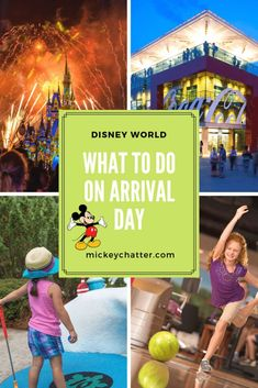 Not sure how to spend your time on arrival day at Disney World? Here are a few ideas, most of which do not require a park ticket! Disney Destinations, Walt Disney World Vacations, Disney World Resorts, Disney Parks, Disney Bound, Disney On A Budget, Disney Vacation Planning, Disney World Planning, Vacation Ideas