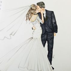 Instagram media by melsysillustrations - A very special custom for a Bride and groom #weddings #fashion #fashionillustration #love