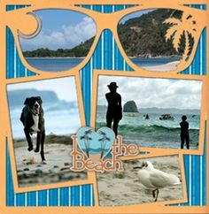 Cute Beach Vacation Layout...love the pictures inside the sunglasses!