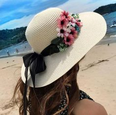 Summer straw flower wide brimmed hats with bow for women UV protection beach hats