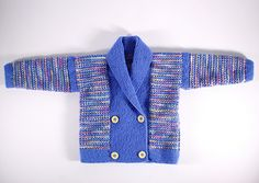 This little jacket is knitted with two shades of thin 4 ply yarn, one plain and one variegated. The body and sleeves are worked in four row stripes of these two yarns using a slip stitch pattern.