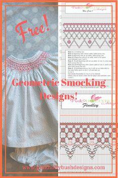 Free Geometric Smocking Plates | Pink Hollybush Designs, Fabrics, Smocking, Patterns