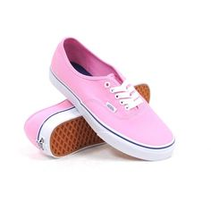 Vans Authentic (Prism Pink/True White) Women's Shoes featuring polyvore fashion shoes sneakers vans pink zapatos lacing sneakers pink sneakers vans trainers white lace up shoes rubber sole shoes