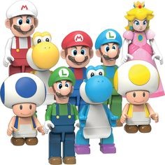 Z wants Yellow Yoshi, Blue and Yellow Toad, Ice and normal Luigi. He has the rest. D collects them also. super mario toys from k'nex Lego Mario, Mario Bros., Mario Kart, Super Mario Toys, Super Mario Art, Super Mario World, Building Toys For Kids, Super Mario Brothers, Lego Worlds