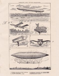 Airships and Flying Machines digital image of 1904 by artdeco