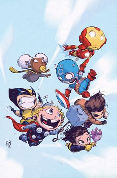 Marvel Superheroes As Babies By Skottie Young - So effing CUTE. I love baby Thor and kitty Loki, too <3