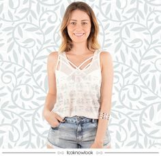 Regata + Top Strappy + Short Jeans #moda #look #outfit #ootd #lookdodia #regata #strappy #top #jeans #shop #loja #compreonline #ecommerce #lnl #looknowlook