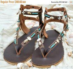 VENTA Boho cuero sandalias sandalias gladiador sandalias