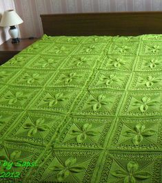 Free Knitting Pattern for Counterpane Quilt with Leaves - Antique pattern, fully updated by Sarah Bradberry. Great pattern for baby blankets or wedding quilts. Instructions for one square. Pictured project by Sapsi
