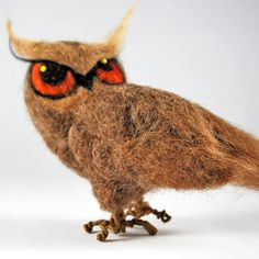 Needle felted owl Halloween decoration woodland by AnnaBelleArts