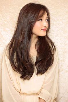 Hair Bangs Ideas Beauty Secrets For 2019 Haircuts For Long Hair, Permed Hairstyles, Long Hair Cuts, Hairstyles With Bangs, Pretty Hairstyles, Hair Color Asian, Asian Hair, Asian Brown Hair, Korean Long Hair