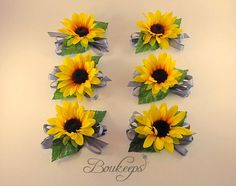 CHOOSE RIBBON COLOR  Sunflower Corsage Sunflower by Boukeeps