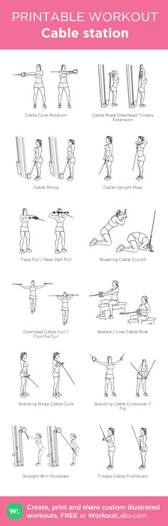 Cable station: my visual workout created at WorkoutLabs.com • Click through to customize and download as a FREE PDF! #customworkout