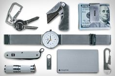 FOUND IN UNCRATE QUARTERLY — Victorinox Swiss Army Farmer Knife ($35). Braun Classic Mesh Watch ($220). Gerber E.A.B Knife ($15). Jack Spade Money Clip ($68). Maratac Stainless Steel Flashlight ($28). Kingston DataTraveler 64GB Flash Drive ($30). Nite Ize DoohicKey Tool...