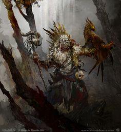 orc shaman...  http://digital-art-gallery.com/oid/89/640x698_15637_Shaman_2d_fantasy_orc_character_shaman_forrest_fenix_picture_image_digital_art.jpg