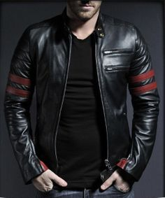 Men Leather Jacket with Red Strips Leather by PelleCollection, $139.99