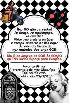 Festa anos 60 convite 60s Party, Wallpapers, Invitation Birthday, Invitation Ideas, Vintage Car Party, Elegant, Wallpaper, Backgrounds