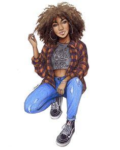 Edited & with slightly changed colors ✌ arte de mujeres negras, dibujo chico, Black Love Art, Black Girl Art, Black Is Beautiful, Black Girl Magic, Black Girls, Art Girl, Bd Art, Black Art Pictures, Natural Hair Art