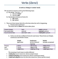A worksheet explaining finite verbs and infinitives in English. There is also a short comparison to isiXhosa provided for second language speakers. There are practice activities as well. Action Words, Second Language, Speakers, Teaching Resources, Worksheets, English, Activities, Music Speakers, English Language