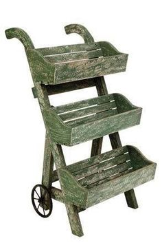 Decorative 3 Tier Garden Planter On Wheels, Plant Rack, Flower Stand
