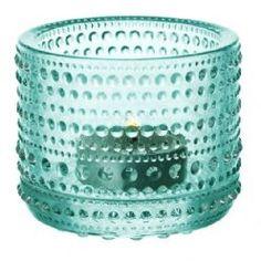 Iittala Candle Holder Water Green: The Kastehelmi Votive was designed by award winning designer Oiva Toikka, who is one of the greatest names in Finnish glass. Tea Light Candles, Tea Lights, String Of Pearls, Tealight Candle Holders, Pressed Glass, Tea Light Holder, Mens Gift Sets, Colored Glass, Ceramics