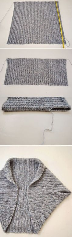 Free knitting pattern for Easy Rectangle Shrug -- just fold and seam -- and more easy shrug knitting patterns