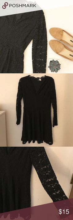 ♡ Lace Dress ♡ H&M black lace dress! Size 10 (fits like a medium), fully lined, skater style. Sleeves are long sleeve and are sheer lace as shown. Has a deep v neck with a cute lace detail. Excellent used condition. Has a little stretch to it. Bundle and save 10%! Any additional questions, feel free to ask! H&M Dresses Long Sleeve