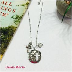 """✟ I Am With You Always✟ Silver Tone Necklace✟ DESCRIPTION:  Silver tone necklace set with a cluster of stamped pendants saying """"I am with you always."""" Approximately 18"""" in length. Janis Marie  Jewelry Necklaces"""