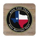 Faux Rustic Wood Background with Texas Flag Map Drink Coaster #Texas
