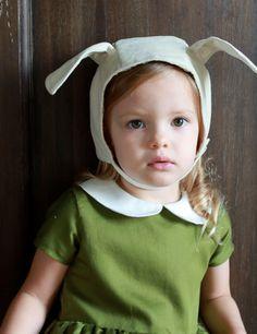 A velveteen bunny bonnet has adorably floppy ears.