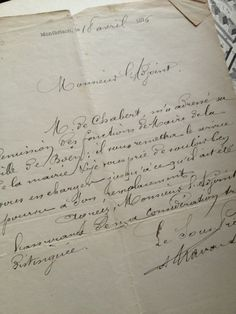 Gorgeous handwritten item - 1876 FleaingFrance Brocante Society (I want handwriting like this!)