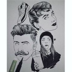 Quick rainy night ideas. Client or art director, you can only be one.  #drawing #sketching #sketch #draw #art #arte #artsy #paint #portrait #audreyhepburn #moustache #hairstyle #haircut #barber #ink #inking #arte #art #gdl #retro #pinup #black #fashion #blogger #makeup #wip #dibujo