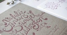 Oh So Beautiful Paper: Natalie + Sam's Hand Lettered Chipboard Wedding Invitations