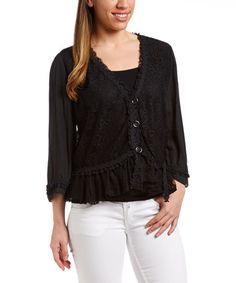 Love this Black Lace Button Linen-Blend Bolero on #zulily! #zulilyfinds