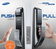 Samsung Digital Door Lock Fingerprint Push Pull Two Way Latch Mortise