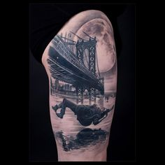 http://tattooideas247.com/falling/ Falling Manhattan Bridge #Bg, #BlackGrey, #Falling, #Jump, #ManhattanBridge, #Moon, #RobertoDaSilva