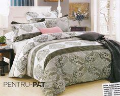 Lenjerie de pat bumbac satinat Pucioasa verde si gri Comforters, Blanket, Floral, Furniture, Textiles, Home Decor, Pattern, Homemade Home Decor, Home Furnishings