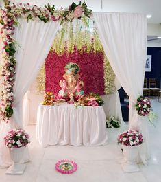 With so many enquiries flooding our way, we'd like to tell y'all, YES we are taking up Ganpati Mandap Decoration and Setups. To book yours, DM or call us asap! Diwali Decorations, Indian Wedding Decorations, Festival Decorations, Flower Decorations, Engagement Decorations, Flower Decoration For Ganpati, Ganpati Decoration Design, Gauri Decoration, Ganesh Chaturthi Decoration