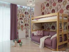 Кровать-чердак с диваном на первом ярусе, кровать над диваном