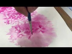 Hydrangea Watercolor painting with Angular brush by teacher Bee