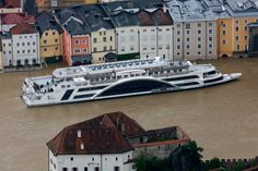 """The tourist boat """"Donau"""" (Danube) is seen on the flooded river Danube in the three-rivers city of Passau, Germany on June (Wolfgang Rattay/Reuters Passau Germany, European River Cruises, Danube River, Reportage Photo, Water Damage, Central Europe, Germany Travel, Vacation Spots, Photos"""