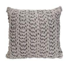 Gray Knitted Crochet Accent Pillow