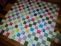 First section of new quilt - complete. bricks and stones quilt.