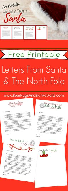 Grab these Free printable letters from Santa and his elves and instructions on getting them postmarked from The North Pole easily to add some extra magic to your Christmas season! Free Printable Santa Letters, Free Letters From Santa, Personalized Letters From Santa, Santa Letter Template, Letter Templates Free, Free Printables, Christmas Letter From Santa, Christmas Elf, Christmas Ideas