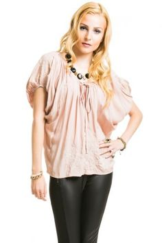 $16 at www.heavenlycouture.com Embroidered Dolman Sleeve Top in Dark Peach