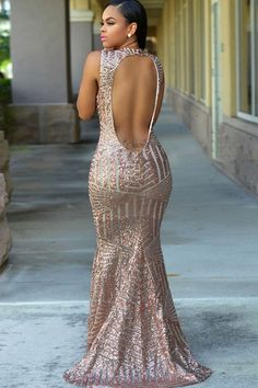 9b60ef41832 Women Backless Sequin Mermaid Maxi Party Dress - Pink