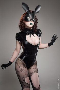 She stumbled upon a tea party that she actually fits in with!  Bunny leather mask in black by TomBanwell on Etsy, $65.00