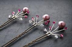 Fanfare Bridal Hair Pins Crystal Pink Swarovski by LoveandCherish